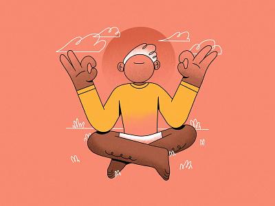 W - Well-being // 36daysoftype 2019 clouds relax 36daysoftype type 2d character grass sun line art 2d guru illustration meditate well being meditation