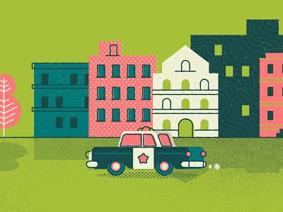 Neighbourhood police illustration police car patterns buildings city neighbourhood town cops popo