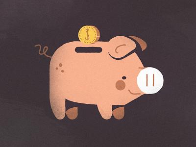 oink bank animation illustration dollar donating money saving pig bank piggy