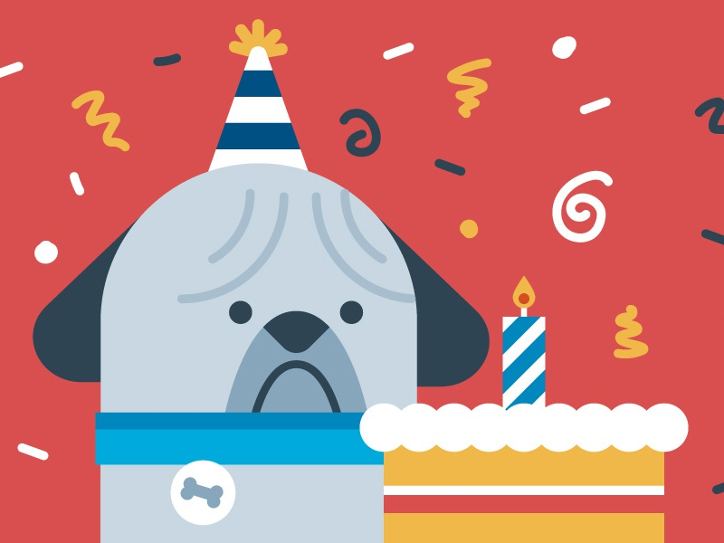 Happy Birthday Puglas! dog animal blog automattic wordpress cake grumpy sad birthday pug