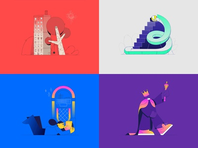 My top 4 Shots in 2018 design vector character typography animated type loop illustration animation