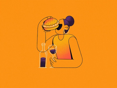 B - Bingeing // 36daysoftype 2019 logotype letter food and drink food orange illustration character wine burger b 36daysoftype