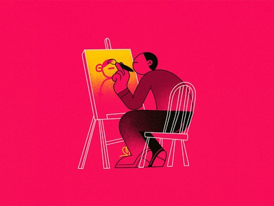 D - Drawing // 36daysoftype 2019 easel canvas painting character typography type illustration
