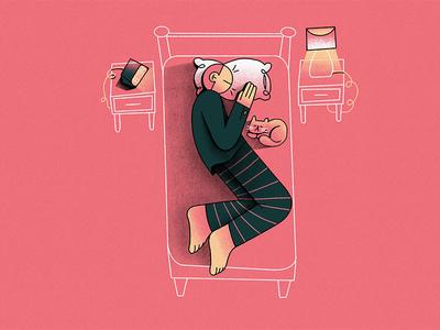 S - Sleep // 36daysoftype 2019 sleeping bag sleeping pillow design clock lamp bed cat character typography illustration