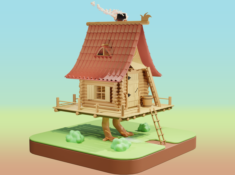 Baba Yaga's Hut aka Izbushka on Chicken Legs baba yaga render isometric lowpoly 3d blender