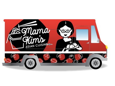 Mama Kim's Asian Food Truck Design typography design illustration