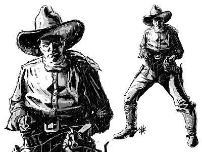 First revolver gun illustration cowboy
