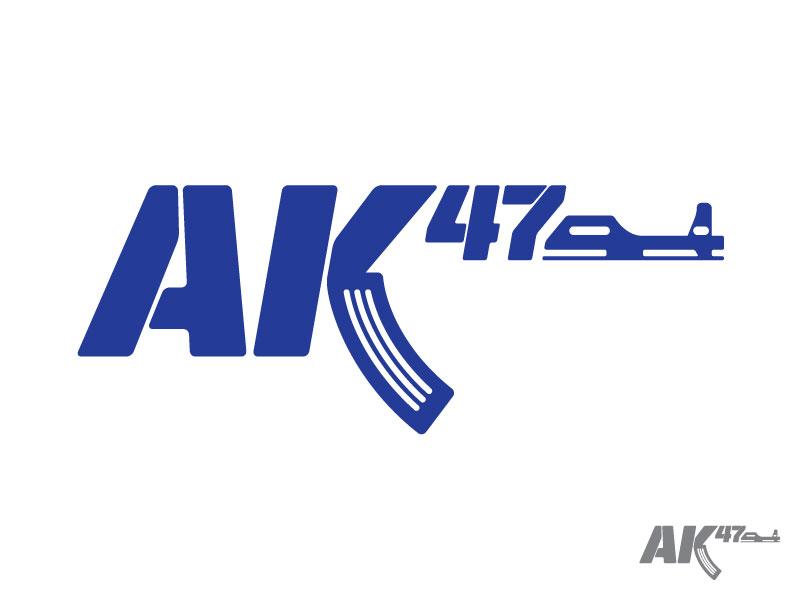AK47 logo mark icon iconic lettering letter typography type number ak47 machine gun gun
