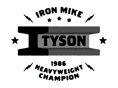 Iron Mike logo type distressed typography champ champion star electricity rod beam iron mike tyson