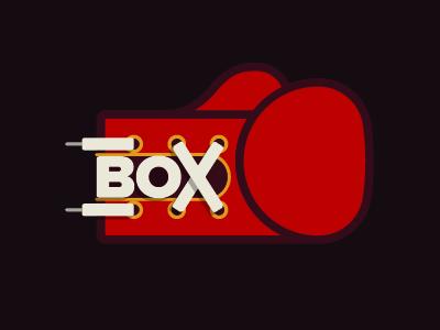 BOX typography type logo retro illustration boxing glove boxing box