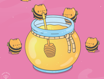 Chonky Kitty Honey Bees 01