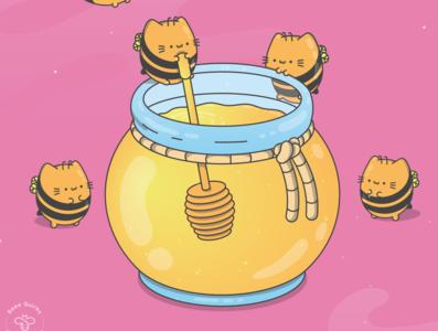 Chonky Kitty Honey Bees 01