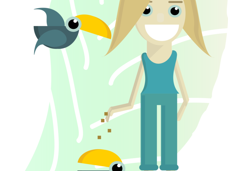 toucan vector design illustration pastel leaf illustrator toucan