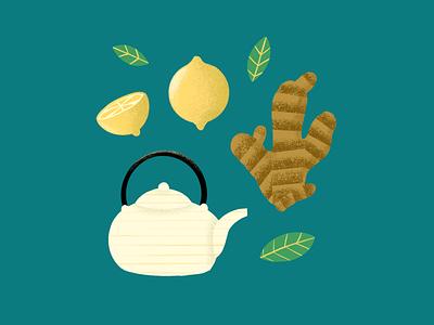 Tea teapot leaf fruit illustration ginger lemon tea