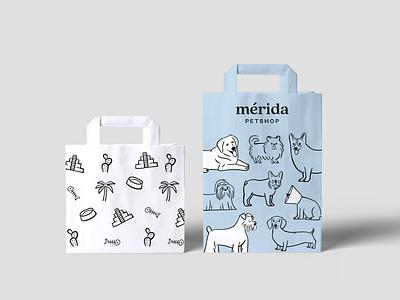 Mérida Petshop Paper Bag cat dog pets petshop illustration branding paper bag