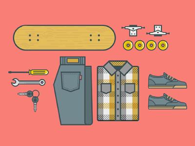 Josecito outfit plaid skateboard shoe jeans shirt illustration icon tools skate keys