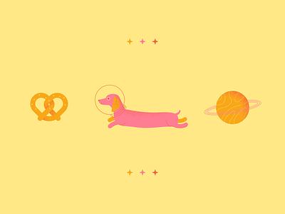 GWK starts space planet dachshund dog pretzel illustration