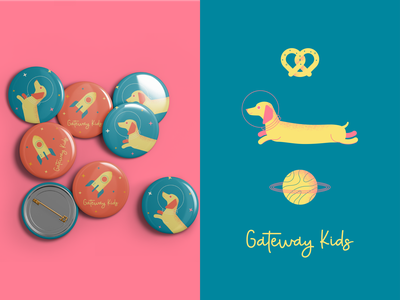 GWK planet pretzel rocket dachshund space dog illustration brand