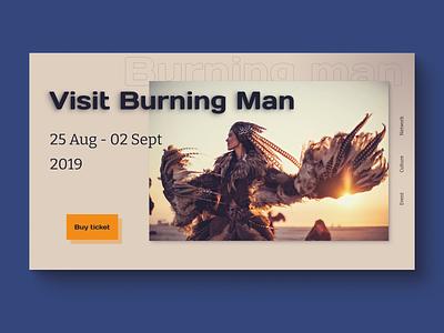Visit burning man promo web ui minimal design
