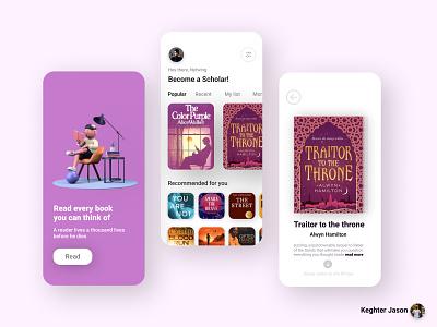 Reading app UI concept scholar readwell designer design app reading ux reading ui reading app