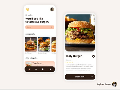 Burger app UI concept food app ui food sale ui food app food burger app concept ui for burger burger app burger ui design designer app