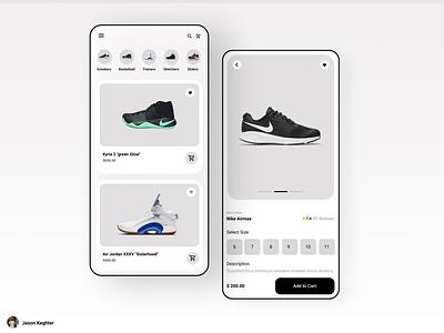Shoe sale UI concept sneaker app sneakers nike app nike shoe app nike show app ui designer design app