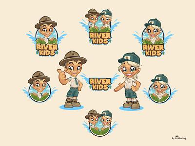 River Kids cartoon logo illustration mascot character design illustration logo design mascot character illustrative logo corporate mascot corporate illustration mascot logo mascot design