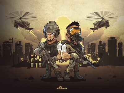 Web Based Game explosion background illustration characterdesign game tactical soldier war