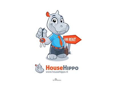 House Hippo brand identity rental logo rental mascot hippopotamus hippo character hippo illustration hippo logo hippo mascot