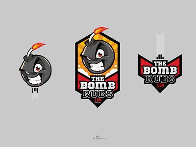 Mascot and logo for The Bomb Rubs brand identity corporate mascot character design mascot character cartoon logo illustrative logo mascot logo mascot design