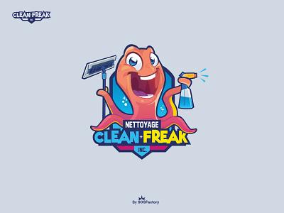 Clean Freak Inc. Illustrative logo mascot design mascot logo illustrative logo cartoon logo design