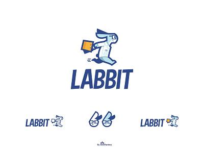 Labbit Mascot and logo design. discount logo shopping logo rabbit lab mascot logo design mascot logo