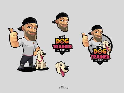 That Dog Trainer Dude dog mascot design dog mascot dog cartoon dog illustration dog mascot logo dog logo dog trainer logo