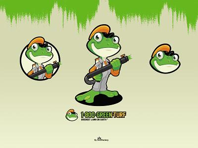 1-800-GREEN-TURF Brand Identity frog cartoon frog character frog mascot frog logo frog