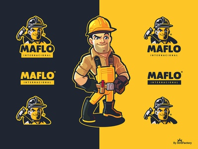 Brand Identity Kit for Maflo Internacional construction brand identity branding brand identity kit cartoon logo cartoon logo design
