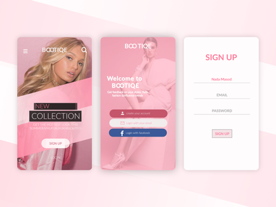 fashion app model facebook bootiqe fashion fashion design pretty blond pinky pink brand art web app icon website typography ux branding illustration design
