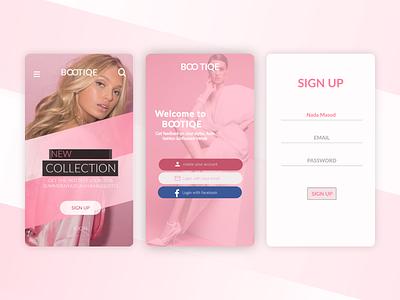 fashion app model facebook bootiqe fashion fashion design pretty blond pinky pink brand art web app icon website typography ux branding illustration design