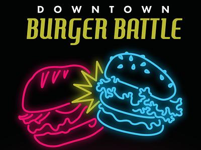 Burger Battle downtown branding illustration neon vector design battle burger