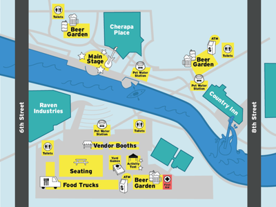 Riverfest Map branding map vector illustration signage design event event map festival riverfest