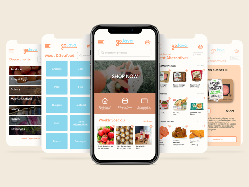 GoJava Grocery App graphic design logo illustrator branding illustration app ui ux design