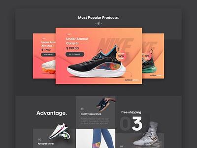 #52 - Concept Website Design Shot web typography shoes dark black research pwa webapp visual design product design ux vector illustration ui minimal freelance logo design branding app