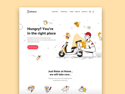 90 - Concept Website Design Shot icon typography web website design research webapp visual design product design restaurant food ordering ux vector illustration minimal ui logo freelance design branding app