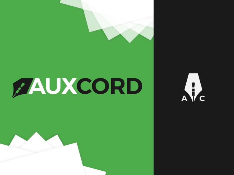 AuxCord.FM Logo & Branding identity minimal flat lettering vector writing music icon branding typography design logo
