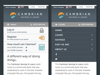 Cambrian Credit Union mobile navigation