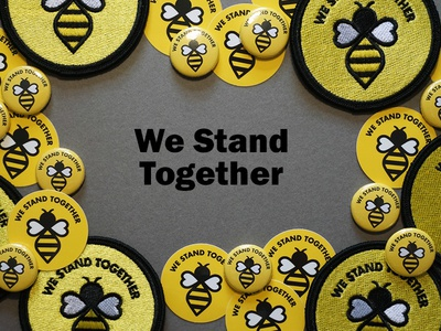 We Stand Together manchester patches fundraising charity bee illustration sticker badge embroidered patch