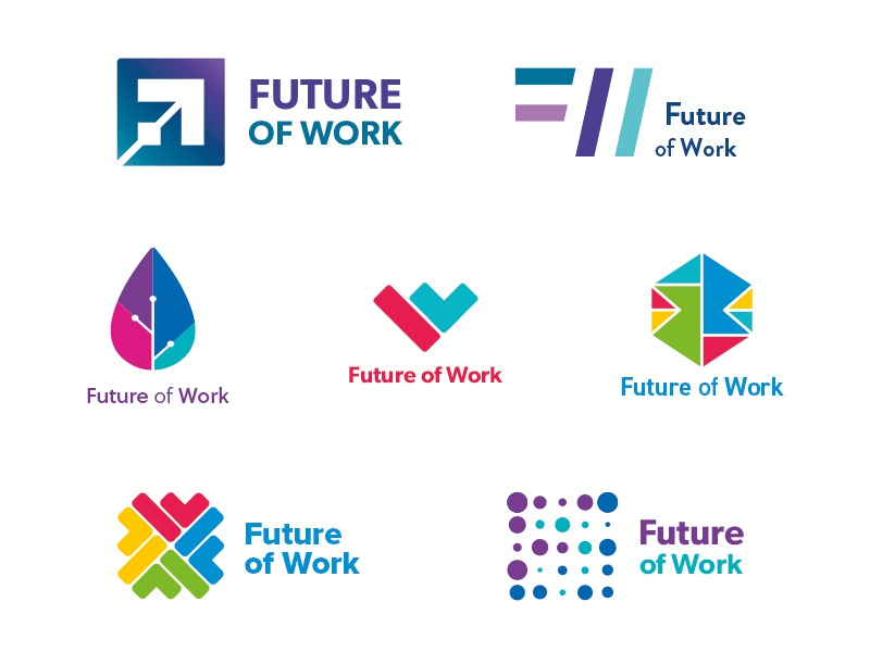 Future of Work development technology logos colour wip monogram mark logo identity ideas icon brand