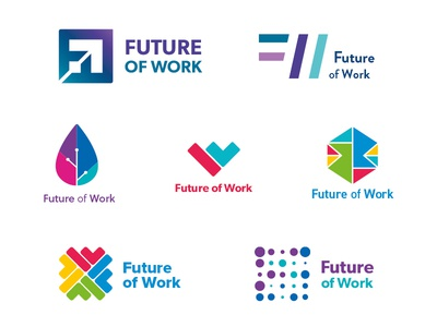 Future of Work development technology logos colour wip monogram mark logo identity ideas icon brand