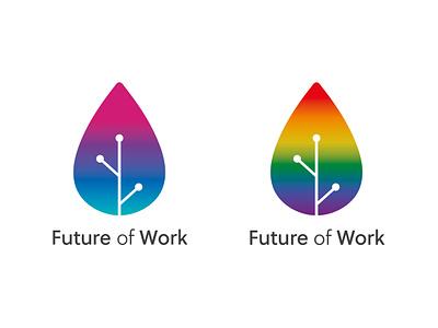 Future of Work logo gradient bright technology logos colour monogram mark logo identity ideas icon brand