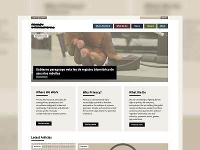 Privacy International Refresh brown cream typography source sans muted colours hero homepage website design web design website