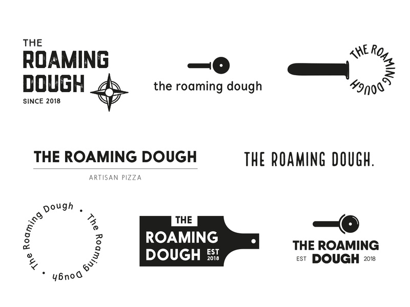 The Roaming Dough Ideas startuplogo startup indie type ideas wip typography pizza identity brand and identity logo branding brand